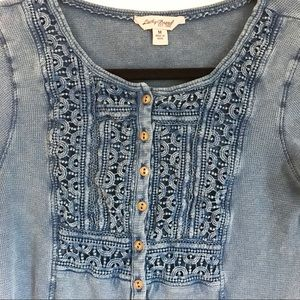 Lucky Brand Blue Thermal Top Sz M